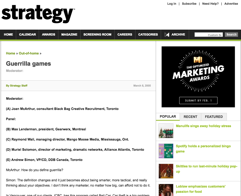 Talking Guerrilla Marketing with Marketing Magazine